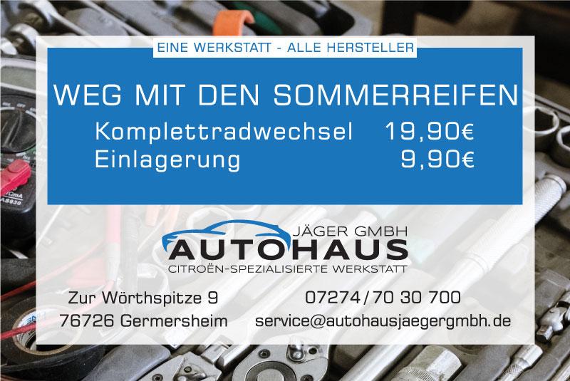 Autohaus Jäger GmbH Werkstatt Anzeige